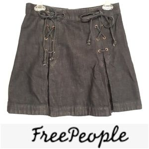 Free People Lace-Up Pleated Jean Skirt